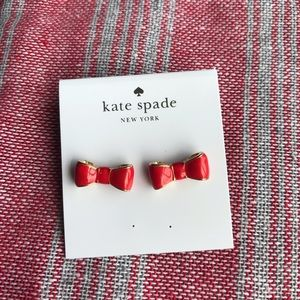 Kate Spade Red & Gold Bow Earrings